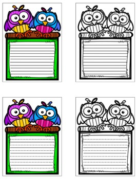 "Owl ""Welcome Back"" Signs & Writing Paper - SPANISH"