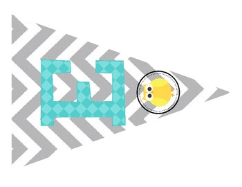Owl Welcome Banner Aqua, Yellow, and Gray Chevron