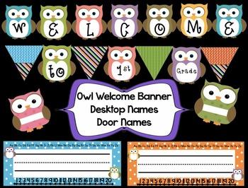 owl welcome banner desktop names door names tpt