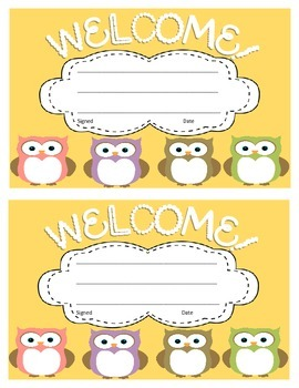 Owl Welcome Cards