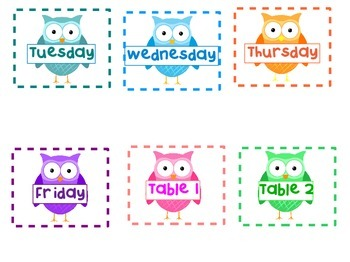 Owl Word Wall Alphabet + other helpful labels