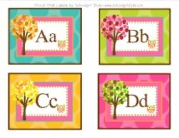 Owl Word Wall Editable Labels Classroom Decor