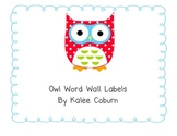 Owl Word Wall Letters (Red & Lime)