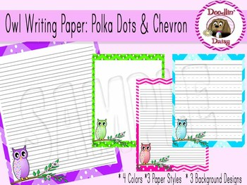 Owl Writing Paper: Polka Dots and Chevron (Blank, Lined, P