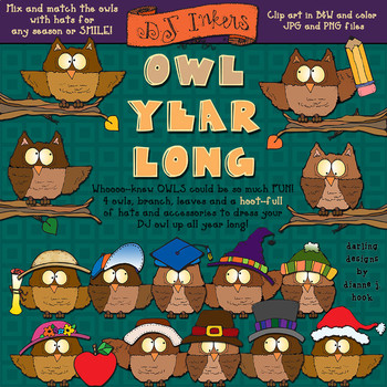 Owl Year Long -Seasonal Clip Art Download