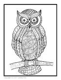 Owl Zentangle Coloring Sheet