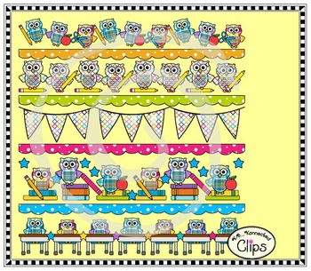 """Owl"" about School Collection (page dividers and toppers, frames and papers)"