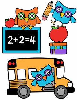 Owl and Back to School Clipart Bundle