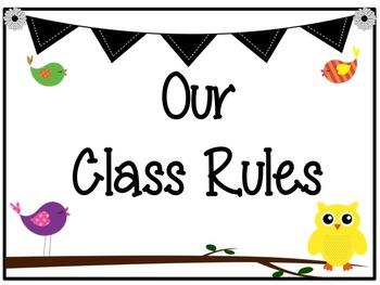 Classroom Decor Set: Bird and Owl Theme