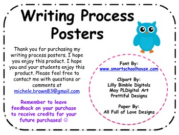 Writing Process Posters: Bird and Owl Themed