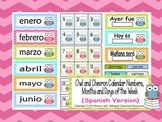 Owl and Chevron Calendar Numbers, Months and Days of the Week {Spanish Version}