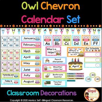 Owl and Chevron Calendar Set and Classroom Decorations