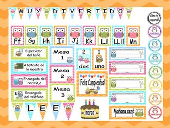 Owl and Chevron Calendar Set and Classroom Decorations {Spanish Version}