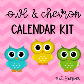 Owl and Chevron Calendar and Weather Set