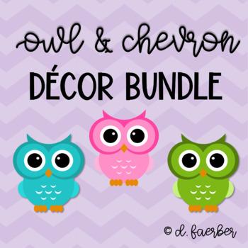 Owl and Chevron Classroom Decor Bundle