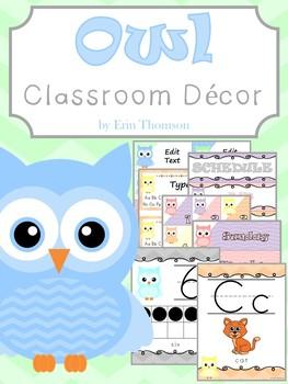 Owl and Chevron Classroom Decor ~ Editable
