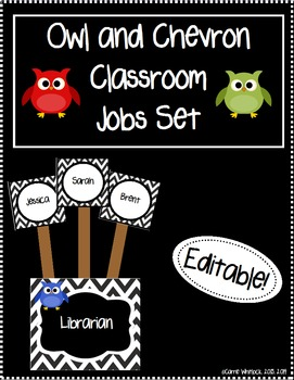Owl and Chevron Classroom Jobs Pack  - Editable