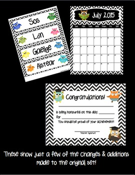 Owl and Chevron Classroom Theme Pack (Editable) UK/Ireland Edition
