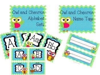 Owl and Chevron Decor BUNDLE