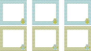 Owl and Chevron Desk Tags and Labels