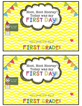 Owl and Chevron First Day of School Certificates {First Grade}