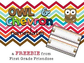 Owl and Chevron Nameplates for Desks