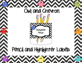 Free Owl and Chevron Pencil and Highlighter Cup Labels