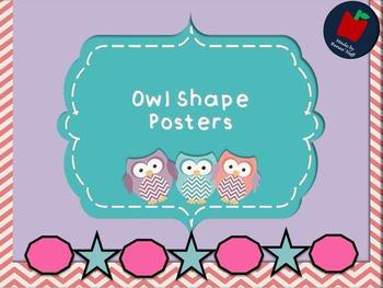 Owl and Chevron Shape Mini Posters