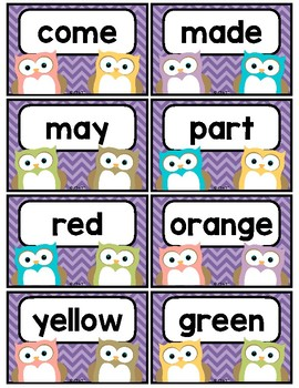 Owl and Chevron Sight Word Cards