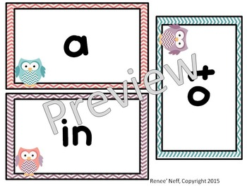 Owl and Chevron Sight Words for the Word Wall List 1