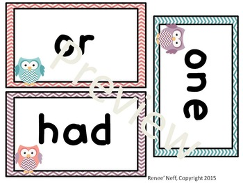 Owl and Chevron Sight Words for the Word Wall List 2