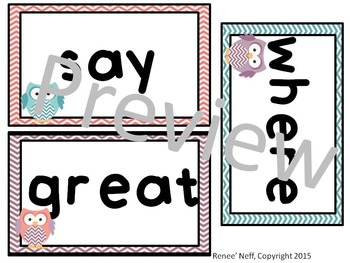Owl and Chevron Sight Words for the Word Wall List 2 of Second Hundred Word List