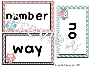 Owl and Chevron Sight Words for the Word Wall List 4