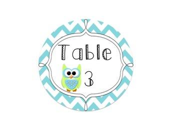 Editable Owl and Chevron Table Signs (Blue)