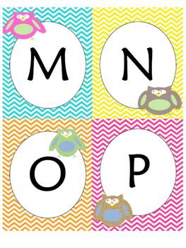 Owl and Chevron Theme Word Wall Headers and Word Cards with two font choices