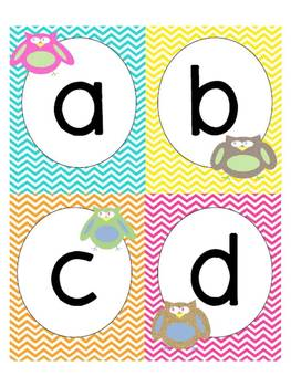 Owl and Chevron Theme Word Wall Headers and Word Cards wit