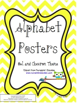 Owl and Chevron Themed Alphabet Posters