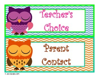 Owl and Chevron Themed Behavior Clip Chart