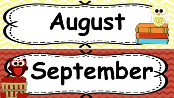 Owl and Chevron Themed Calendar Bulletin Board Set for Classroom Decor