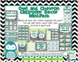 Owl and Chevron Themed Classroom Materials Mini-Pack