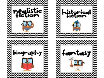 Owl and Chevron Themed Genre Book Labels