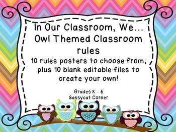 Owl and Chevron Themed Rule Posters for Back to School - Classroom Decor