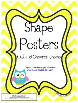 Owl and Chevron Themed Shape Posters