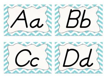 Owl and Chevron Word Wall Alphabet (Light Blue)