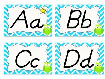 Owl and Chevron Word Wall Alphabet (Neon Blue)