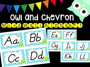 Owl and Chevron Word Wall Alphabet (Neon Blue)
