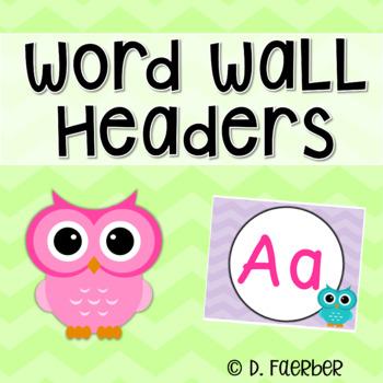 Owl and Chevron Word Wall Headers