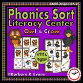 PHONICS SORT Literacy Center Owl Crow Sounds of OW Phonics Activitiy