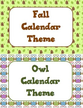 Owl and Fall Theme Calendar
