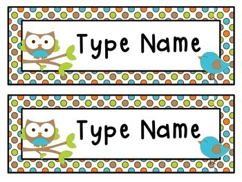 Owl Name Labels Editable Name Tags And Locker Tub Labels